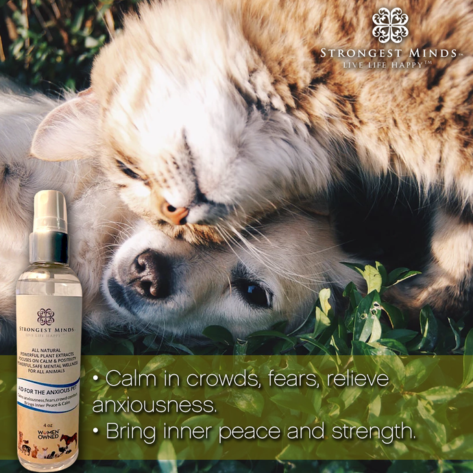 AID FOR YOUR ANXIOUS PET - Natural Sprays for panic attacks from anxiety, calms fears, nervous and help calm using Bach Flower Essences | Strongest Minds