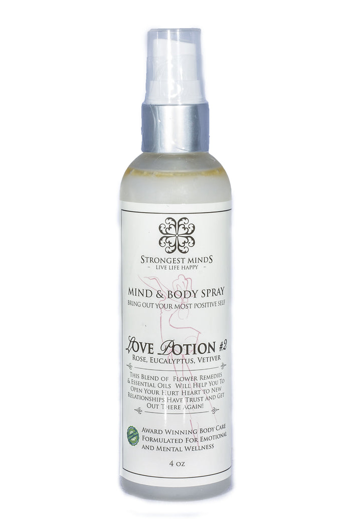 LOVE POTION #2! All Natural Body Sprays Using Bach Flower Remedies and other powerful remedies and Essential Oils of Rose, Vetiver, Eucalyptus to help you open to Relationships, Trust, Confidence & Open Heart to Love | Strongest Minds