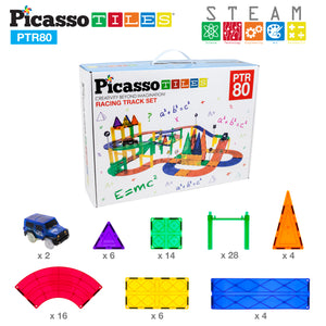 PicassoTiles 80 Piece Race Car Track Set