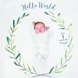 Lulujo: Hello World - Baby's First Year Blanket & Cards Set