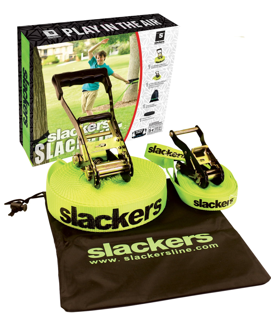 Slackers Slackline 50 Ft Classic Set - Prism