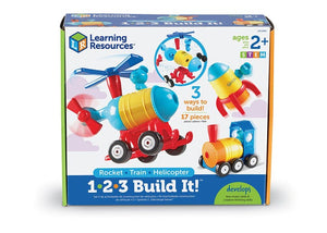Learning Resources 1-2-3 Build It! Rocket, Train, Helicopter, 17 Pieces