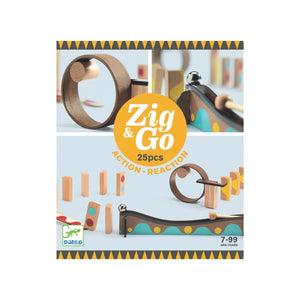 DJECO Zig & Go Wooden Domino Race Construction Set, 25 Pieces