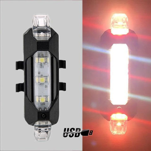 Handy Outdoor Goods USB Red & White BICYCLE REAR SAFETY LIGHT
