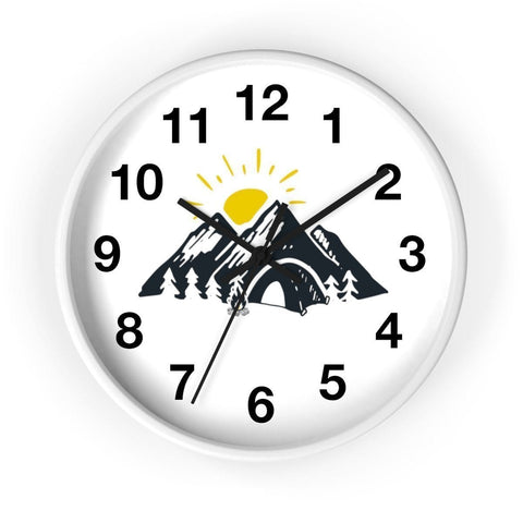 Handy Outdoor Goods Home Decor 10 in / White / Black Camping Themed Wall Clock [DESIGNED FOR ENTHUSIASTS]