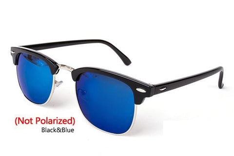 Handy Outdoor Goods C6 Black Blue Polarized Semi-Rimless Sunglasses