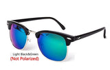 Handy Outdoor Goods C7 LightBlack Green Polarized Semi-Rimless Sunglasses