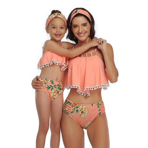 Handy Outdoor Goods RL201908 / Kids 140 (5T-6T) Women Sexy Vintage Swimsuit