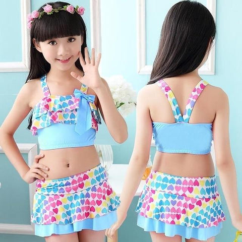 Handy Outdoor Goods blue / S Cute Love Two Pieces Swim Suits
