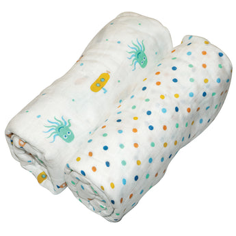 Boy Muslin Swaddle Wrap 2pk-110x110cm - EGG Maternity NZ Ltd
