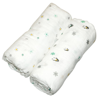 Neutral Muslin Swaddle Wrap 2pk-110x110cm - EGG Maternity NZ Ltd