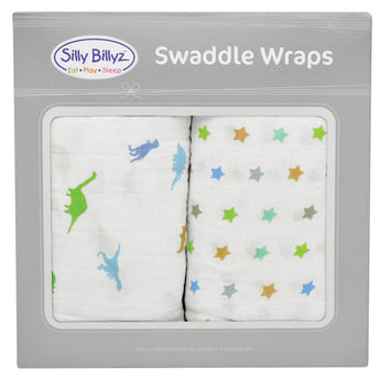 Dinostar Muslin Swaddle Wrap 2pk-120x120cm - EGG Maternity NZ Ltd
