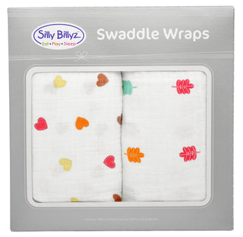 Sycamore Heart Muslin Swaddle Wrap 2pk-120x120cm - EGG Maternity NZ Ltd