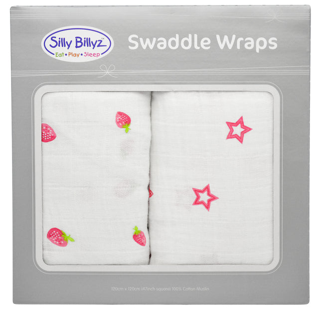 Strawberry Crush Muslin Swaddle Wrap 2pk-120x120cm - EGG Maternity NZ Ltd