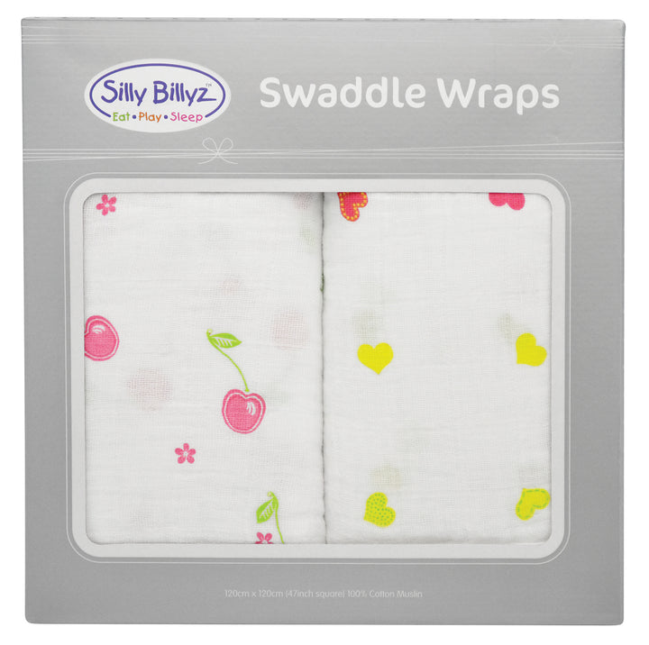 Cherry Delight Muslin Swaddle Wrap 2pk-120x120cm - EGG Maternity NZ Ltd