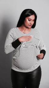 Kellie Breastfeeding Striped Top - EGG Maternity NZ Ltd