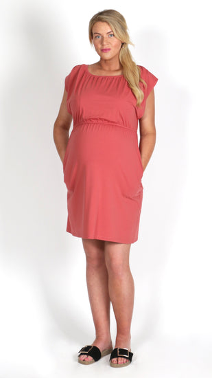 Egg Pomegranate Box Cut Midi Pregnancy Dress - EGG Maternity NZ Ltd