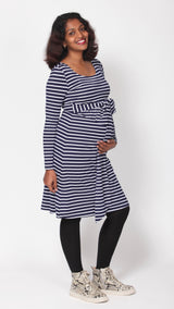 Karrah Striped Breastfeeding Belt Dress