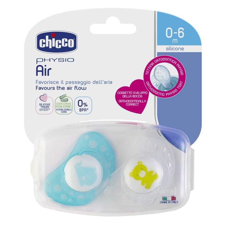 Chicco Physio Air Soother 0-6m 2pk Boy