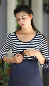 breastfeeding and maternity blue stripe dress