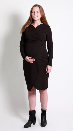 Sara Breastfeeding Crossover Dress--Bamboo Cotton - EGG Maternity NZ Ltd
