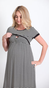 Miah Stripe Breastfeeding Dress - EGG Maternity NZ Ltd