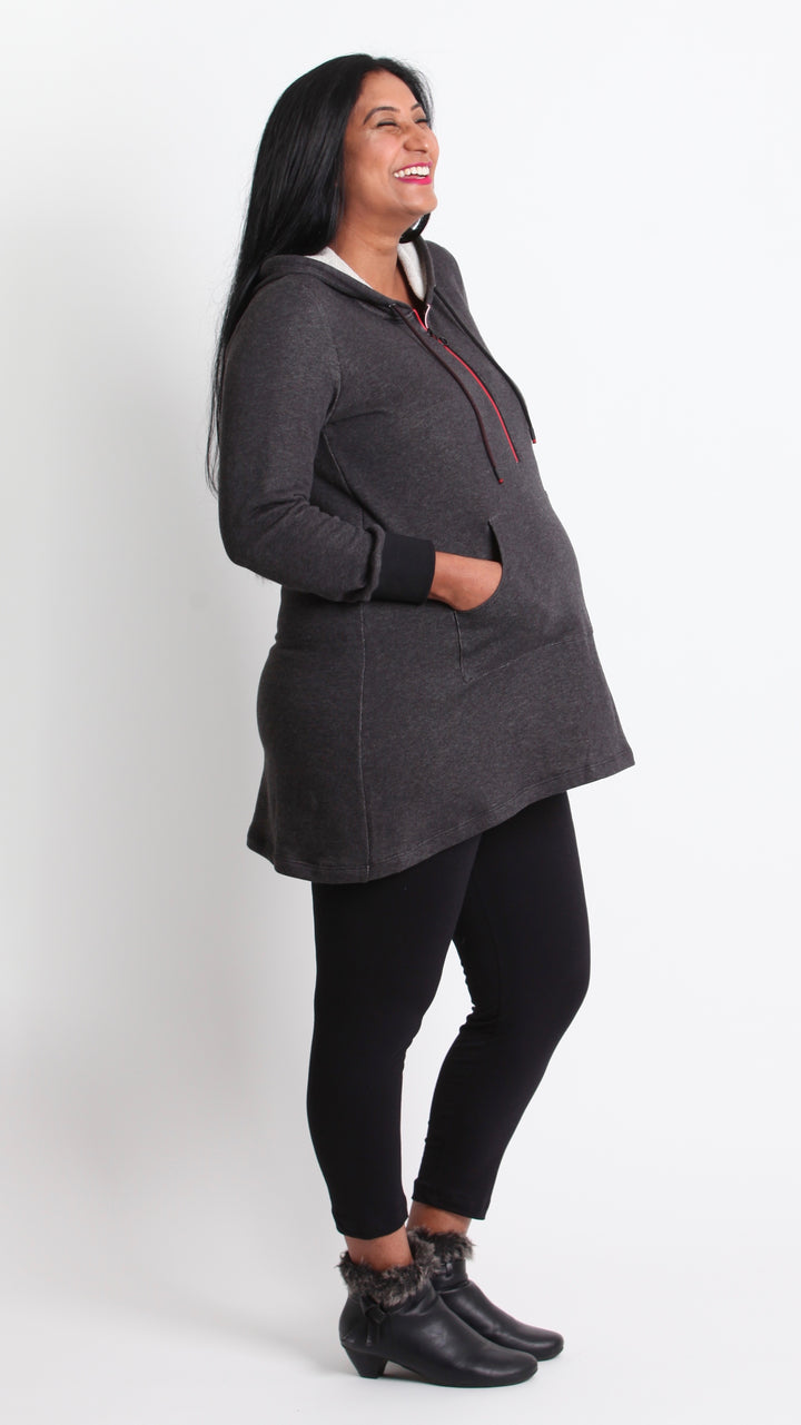 Aida Hoodie Tunic Top with Zip Feature. - EGG Maternity NZ Ltd