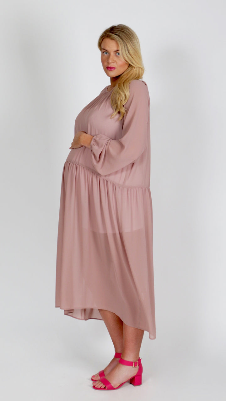 Elizabeth Drop Waist Maternity Chiffon Dress - EGG Maternity NZ Ltd