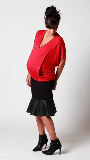 Black Maternity work skirt with faux leather feature. - EGG Maternity NZ Ltd