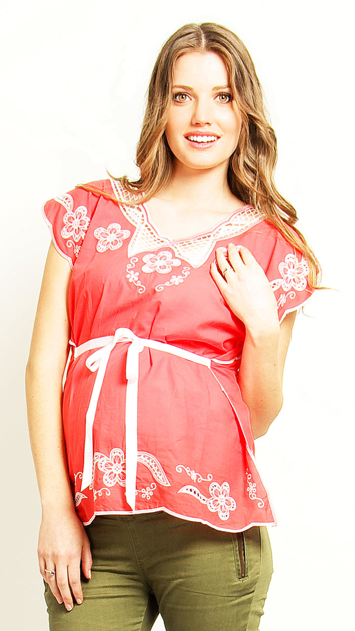 Embroidery Maternity and Breastfeeding Top - EGG Maternity NZ Ltd