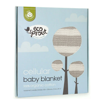 Organic Baby Blanket - Dove Grey/Natural Stripe- Bassinet