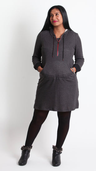 Betta Hoodie Dress with Zip Feature. - EGG Maternity NZ Ltd