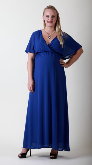 maternity blue maxi dress