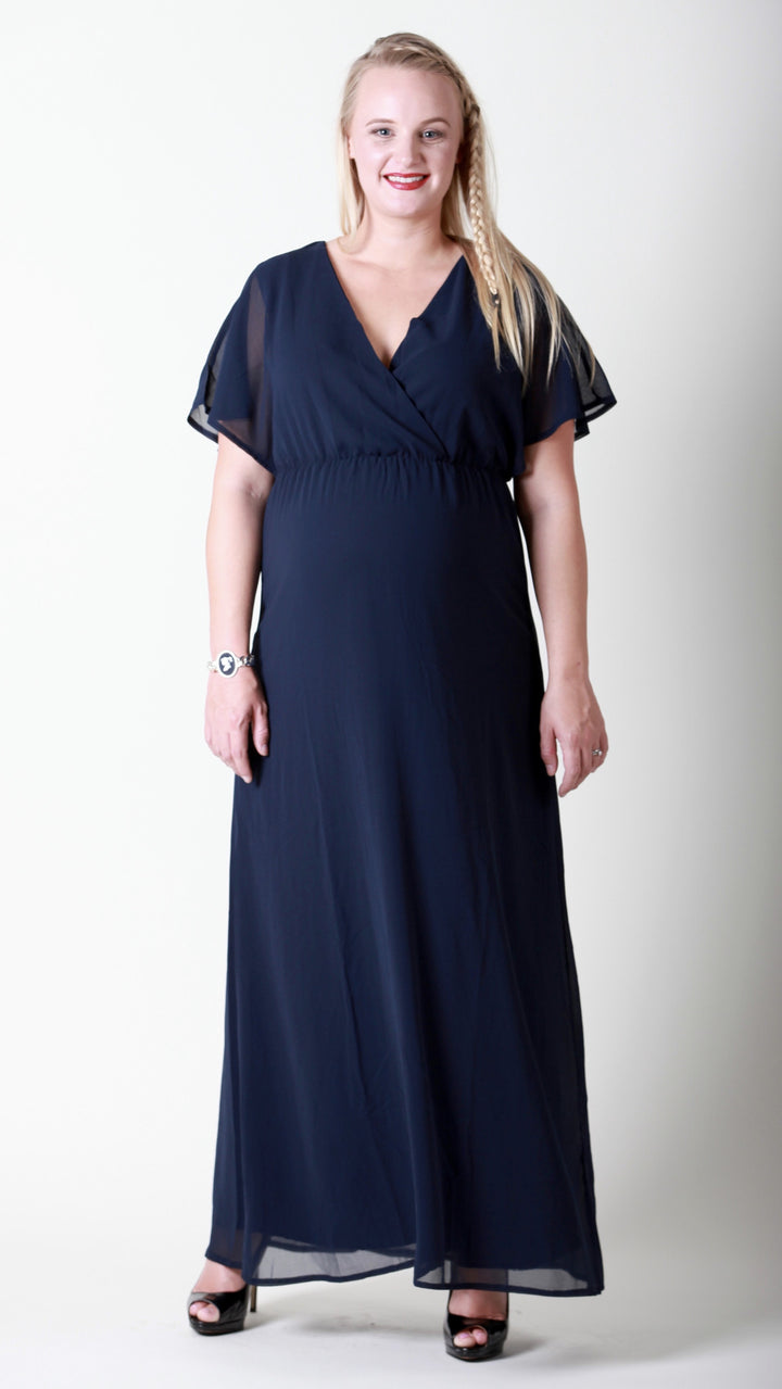 Angeline Glamour Maternity Maxi Dress Navy - EGG Maternity NZ Ltd