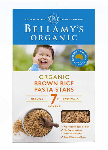 Bellamy's Organic Brown Rice Pasta Stars 7m+, 200g (Buy 5 get 1 free) - EGG Maternity NZ Ltd