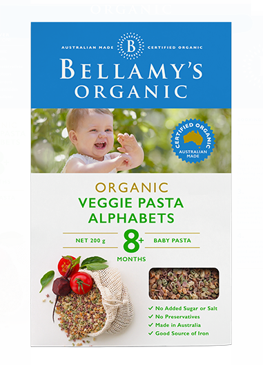 Bellamy's Organic Veggie Pasta Alphabets 8m+, 200g - EGG Maternity NZ Ltd