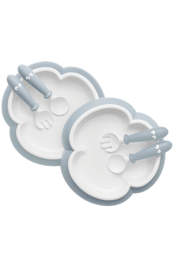 BabyBjorn Baby Plate, Spoon & Fork 2 set- Powder Blue