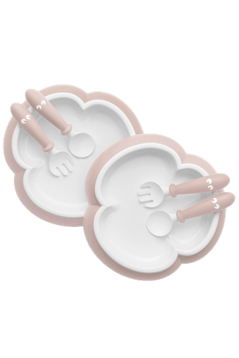 BabyBjorn Baby Plate, Spoon & Fork 2 set- Powder Pink