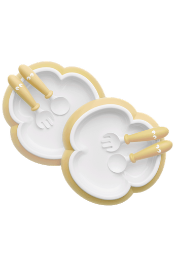 BabyBjorn Baby Plate, Spoon & Fork 2 set- Powder Yellow