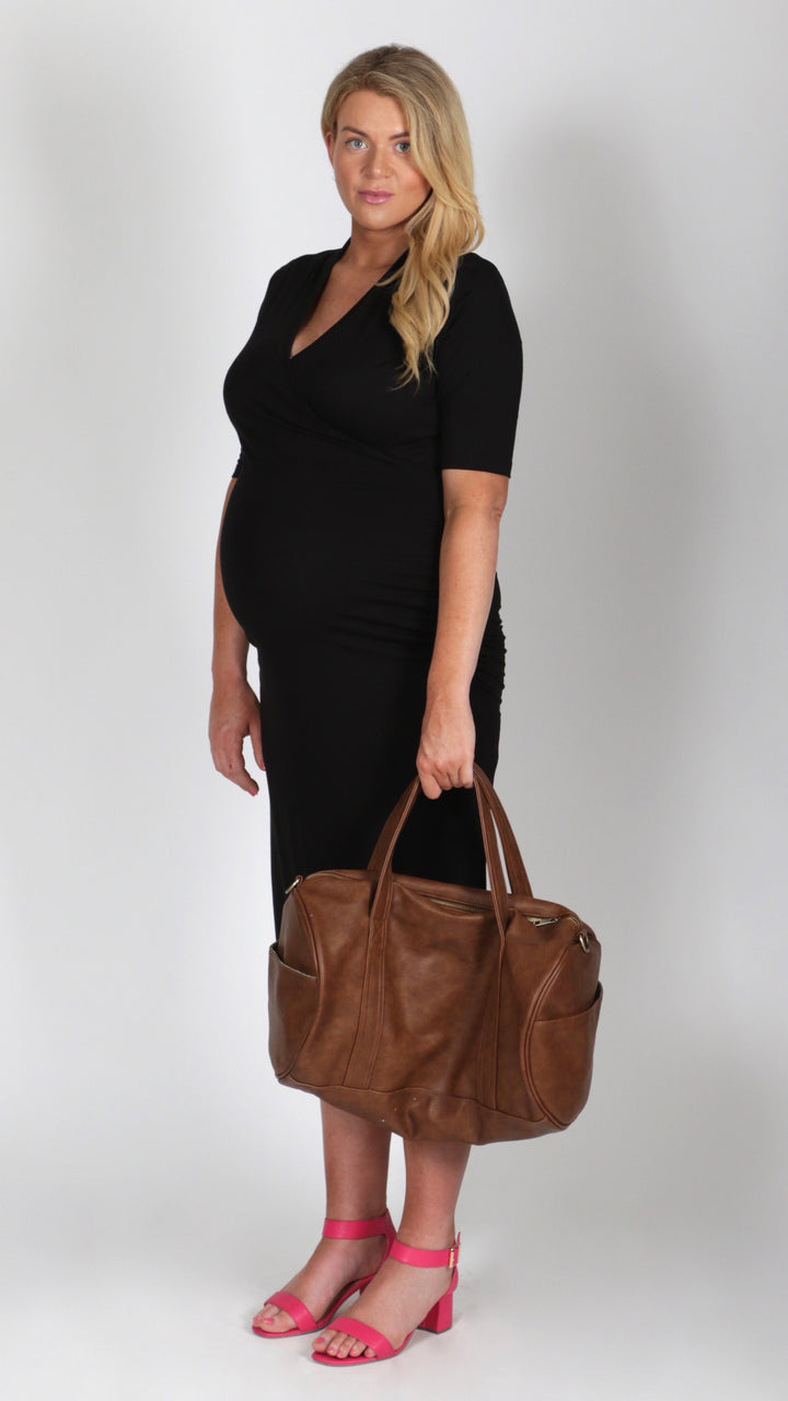 Abbey Black Maternity Breastfeeding Dress - EGG Maternity NZ Ltd