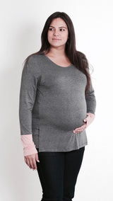 Nanda Breastfeeding Long Sleeved Top - Charcoal - EGG Maternity NZ Ltd