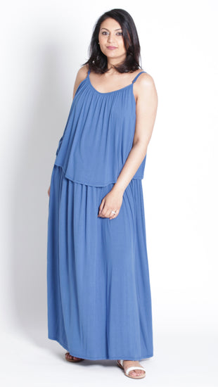 Ambre Maternity Maxi shoestring Strap Dress - EGG Maternity NZ Ltd