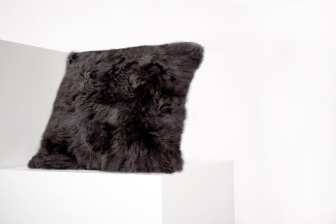 Square Shorn Black Icelandic Sheepskin Pillow Cover - Black Sheep (White Light)
