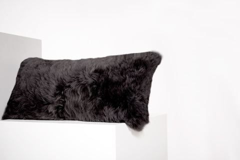 Rectangular Shorn Black Icelandic Sheepskin Pillow Cover - Black Sheep (White Light)