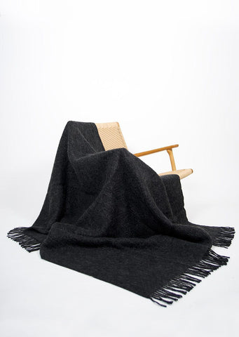 Charcoal Icelandic Wool Throw - Black Sheep (White Light)