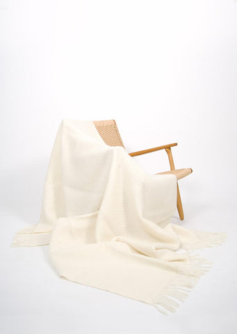 Cream Icelandic Wool Throw - Black Sheep (White Light)