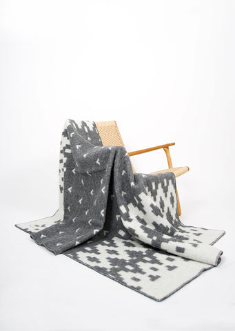 Geometric Pattern Icelandic Wool Throw - Black Sheep (White Light)