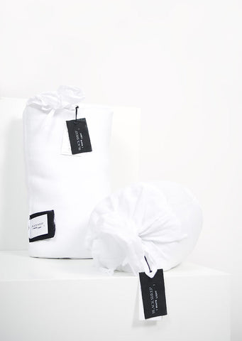 White Italian Linen Sheet Set - Black Sheep (White Light)