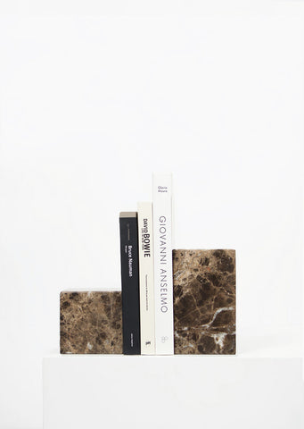 Dark Emperador Marble Asymmetric Book Ends