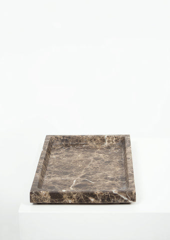 Dark Emperador Marble Large Rectangular Tray - Black Sheep (White Light)